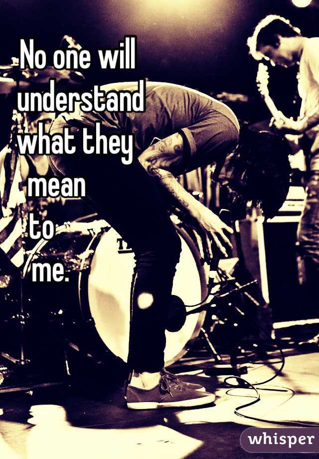 No one will               understand             what they       mean  to     me.
