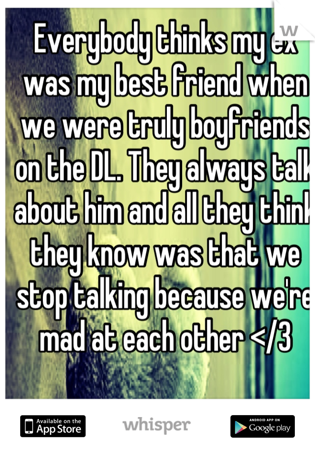 Everybody thinks my ex was my best friend when we were truly boyfriends on the DL. They always talk about him and all they think they know was that we stop talking because we're mad at each other </3