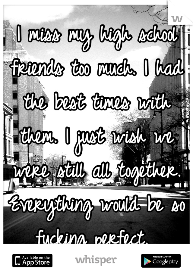 I miss my high school friends too much. I had the best times with them. I just wish we were still all together. Everything would be so fucking perfect.