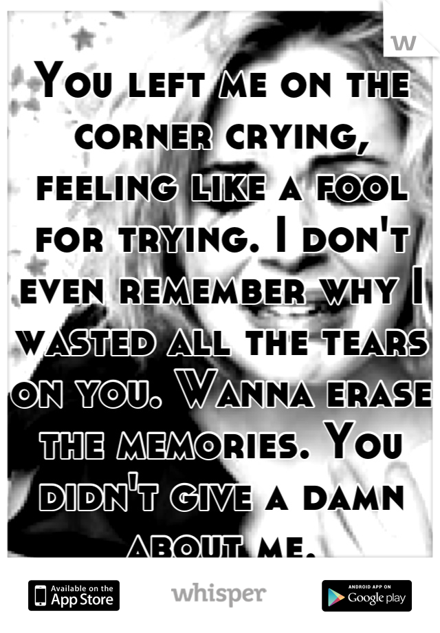 You left me on the corner crying, feeling like a fool for trying. I don't even remember why I wasted all the tears on you. Wanna erase the memories. You didn't give a damn about me.