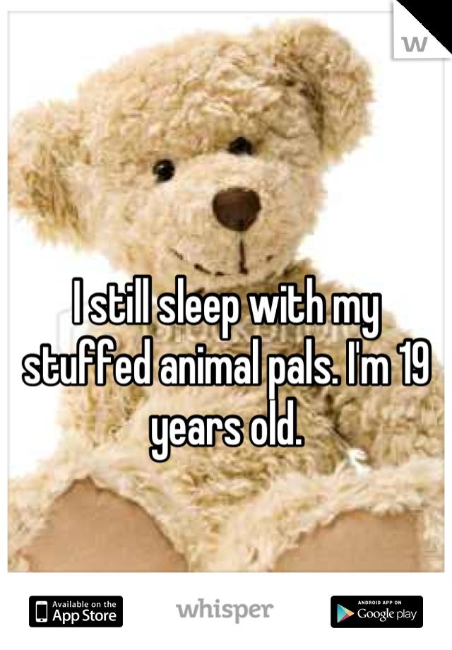 I still sleep with my stuffed animal pals. I'm 19 years old.