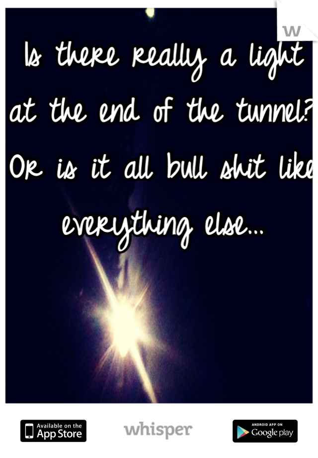 Is there really a light at the end of the tunnel? Or is it all bull shit like everything else…