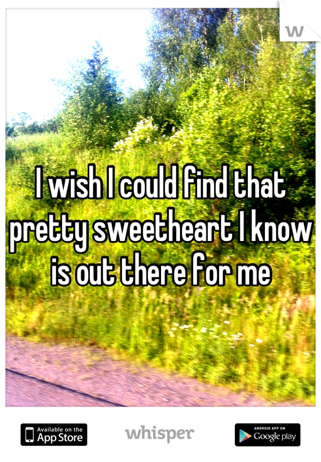 I wish I could find that pretty sweetheart I know is out there for me