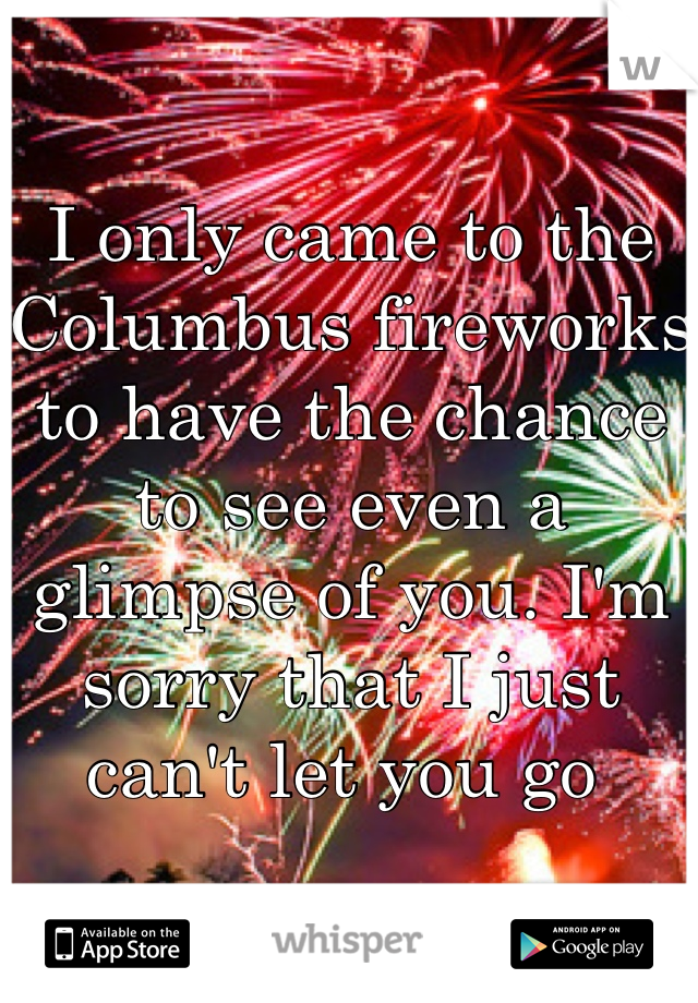 I only came to the Columbus fireworks to have the chance to see even a glimpse of you. I'm sorry that I just can't let you go