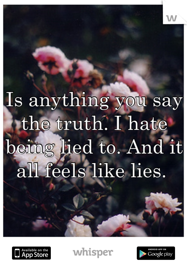Is anything you say the truth. I hate being lied to. And it all feels like lies.