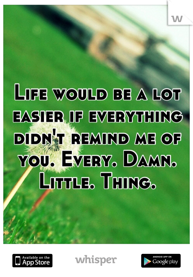 Life would be a lot easier if everything didn't remind me of you. Every. Damn. Little. Thing.