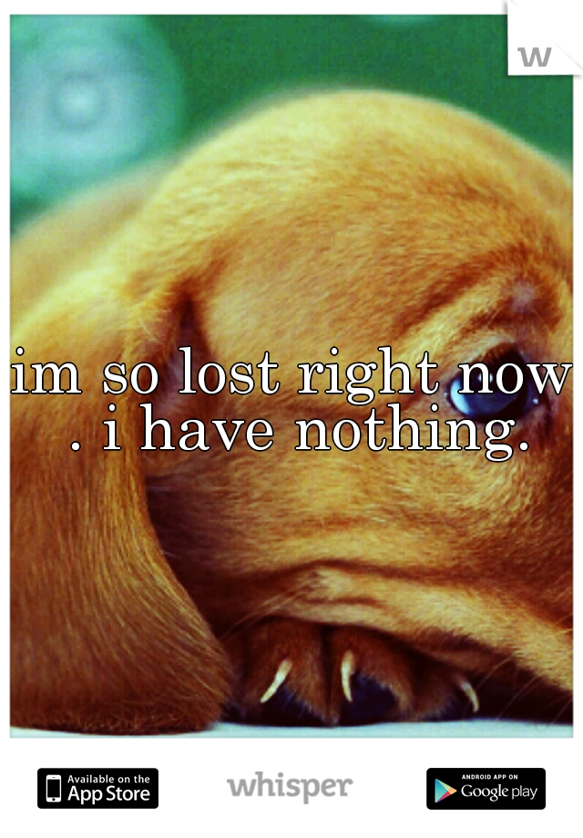 im so lost right now . i have nothing.