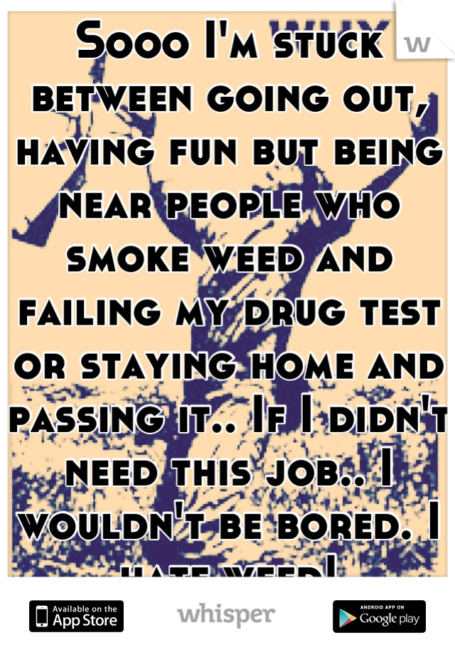 Sooo I'm stuck between going out, having fun but being near people who smoke weed and failing my drug test or staying home and passing it.. If I didn't need this job.. I wouldn't be bored. I hate weed!