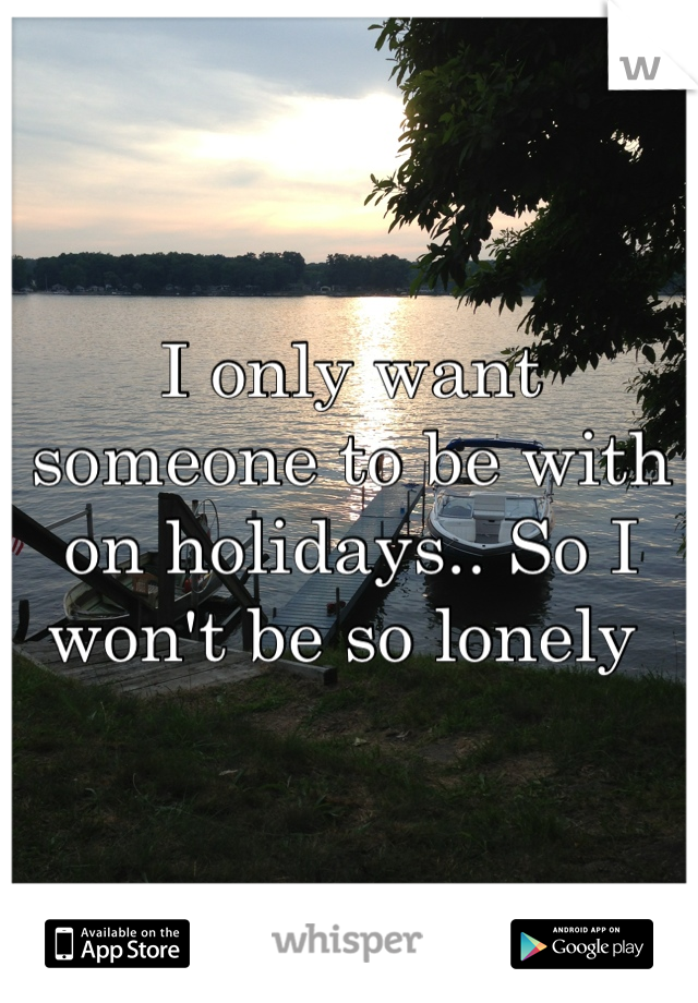 I only want someone to be with on holidays.. So I won't be so lonely