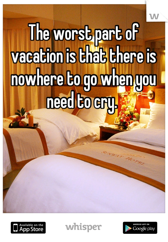 The worst part of vacation is that there is nowhere to go when you need to cry.
