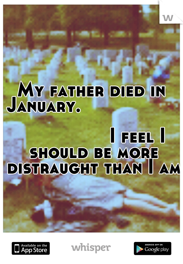 My father died in January.                                                                  I feel I should be more distraught than I am.