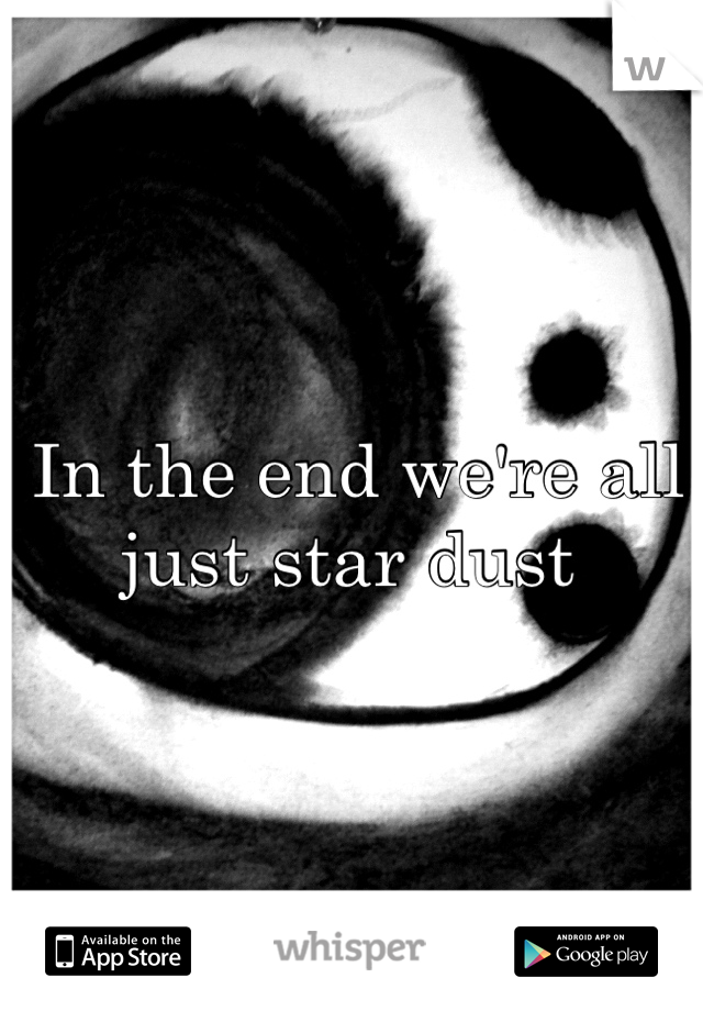In the end we're all just star dust