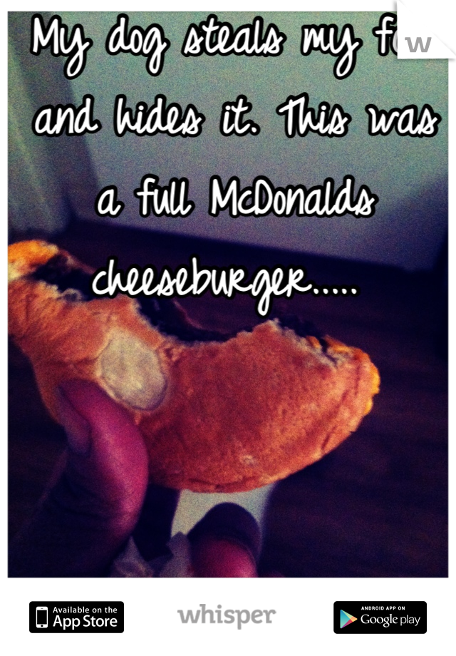 My dog steals my food and hides it. This was a full McDonalds cheeseburger.....