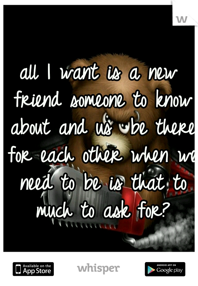 all I want is a new friend someone to know about and us  be there for each other when we need to be is that to much to ask for?