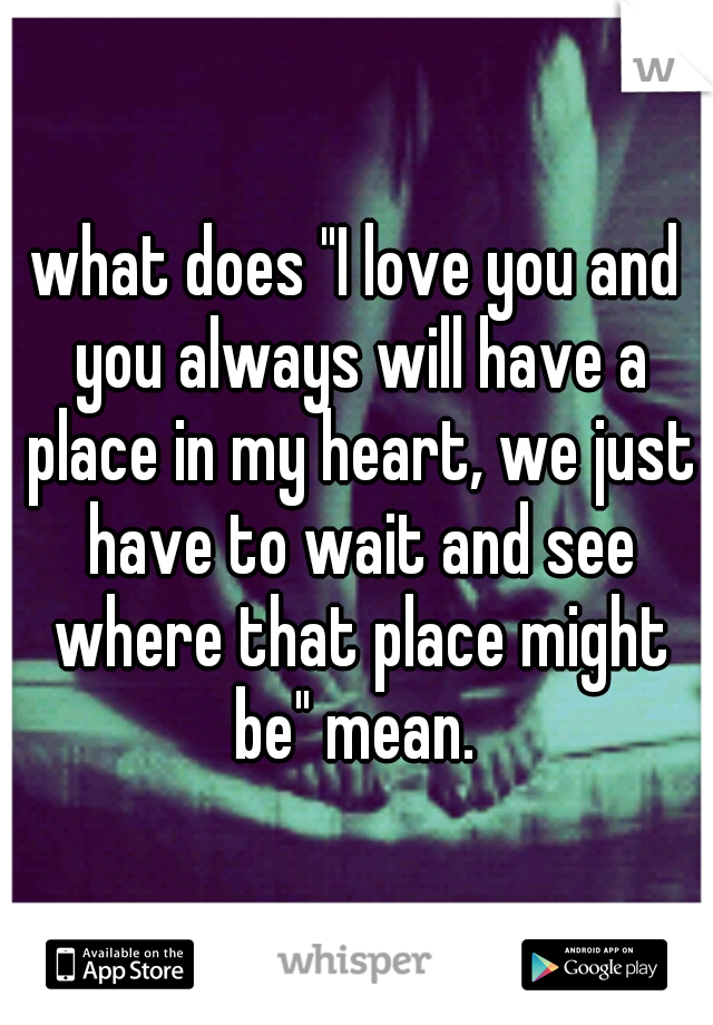"""what does """"I love you and you always will have a place in my heart, we just have to wait and see where that place might be"""" mean."""
