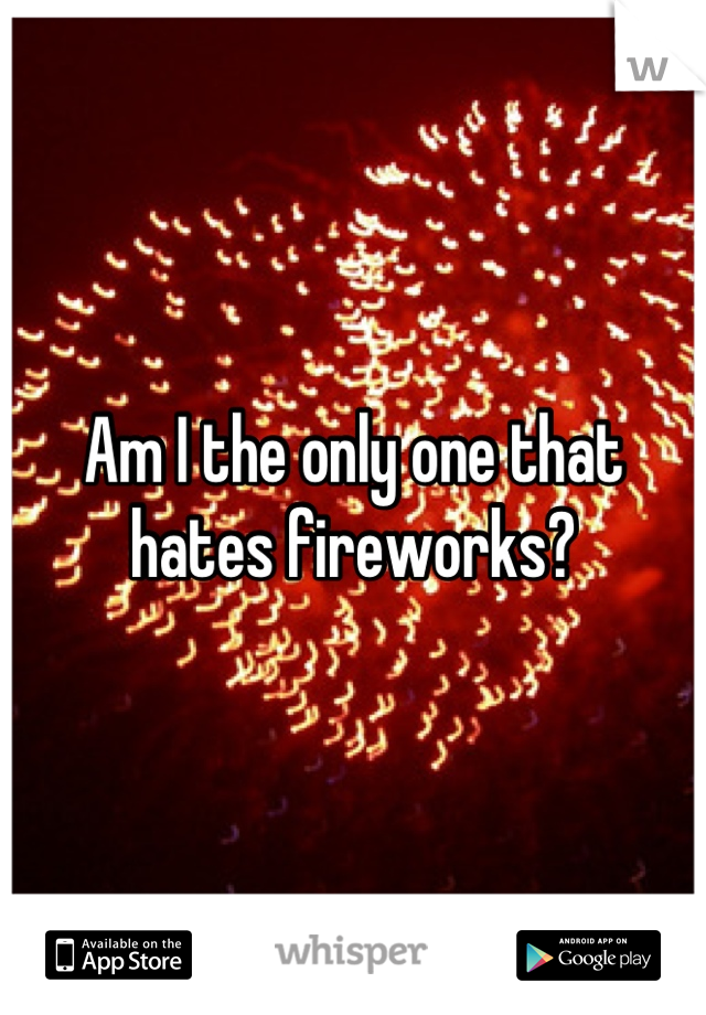 Am I the only one that hates fireworks?