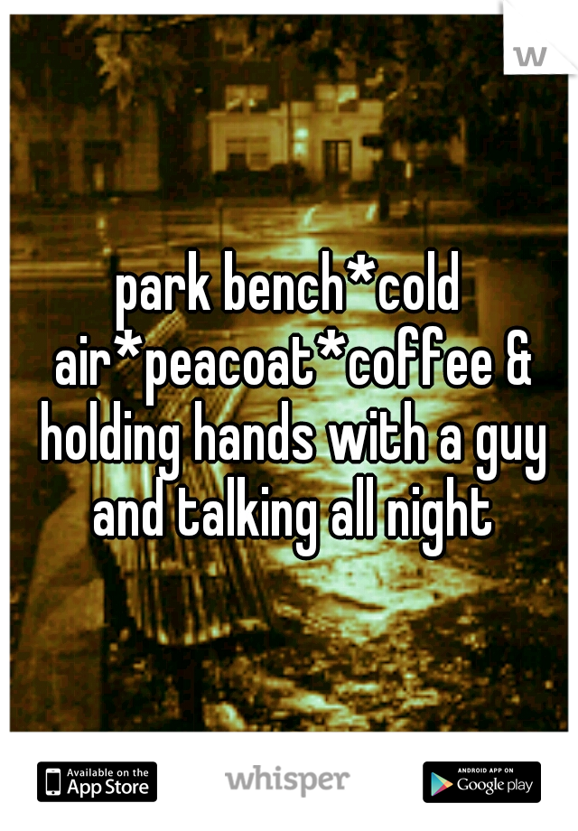 park bench*cold air*peacoat*coffee & holding hands with a guy and talking all night
