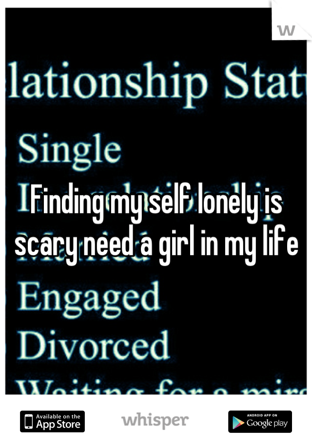 Finding my self lonely is scary need a girl in my life