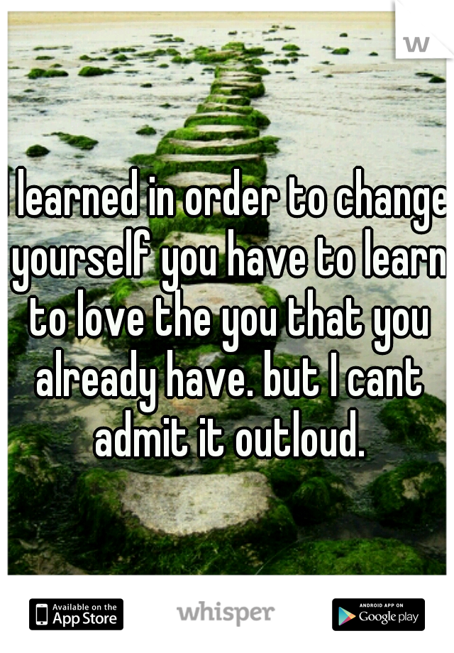 I learned in order to change yourself you have to learn to love the you that you already have. but I cant admit it outloud.