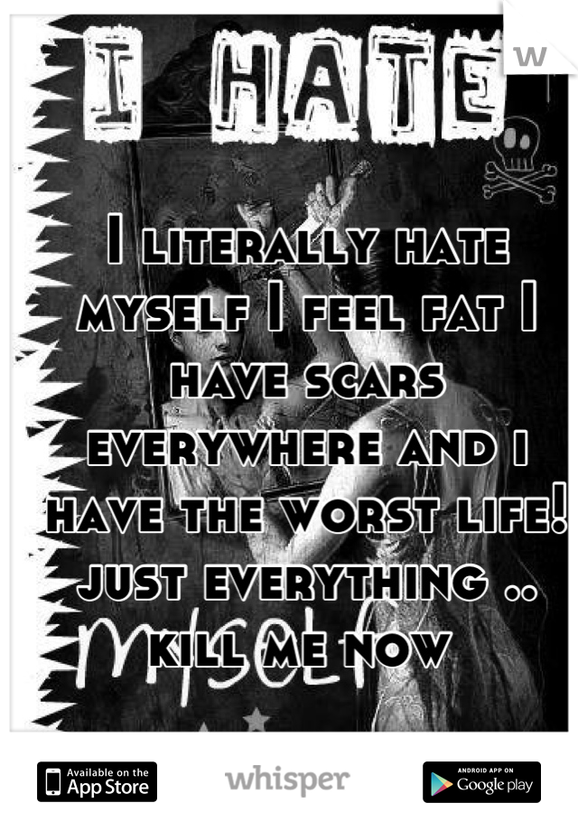 I literally hate myself I feel fat I have scars everywhere and i have the worst life! just everything .. kill me now