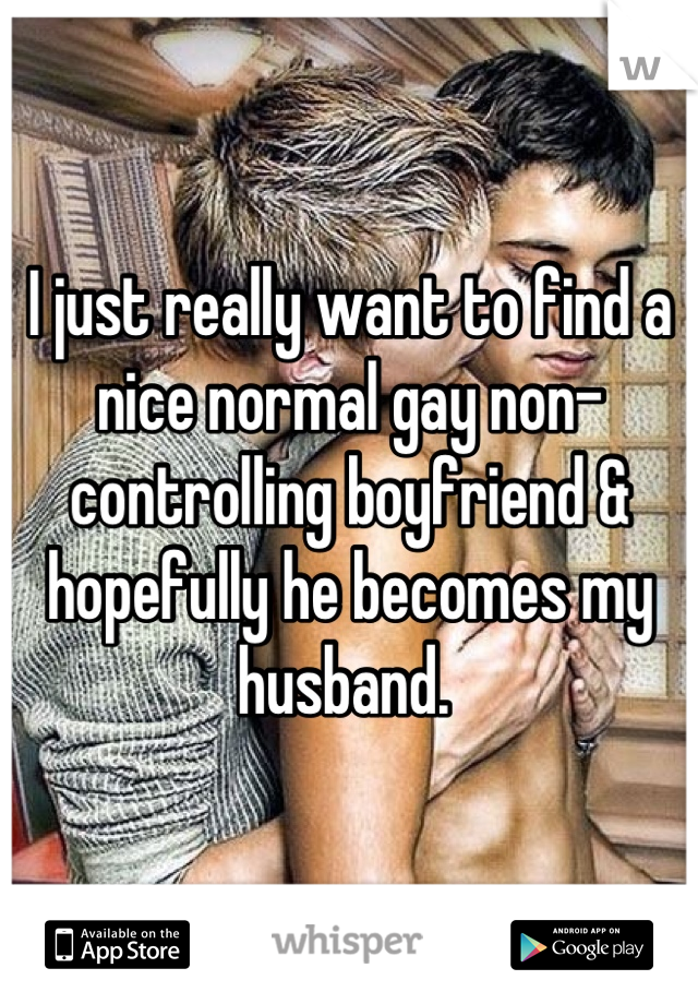I just really want to find a nice normal gay non-controlling boyfriend & hopefully he becomes my husband.