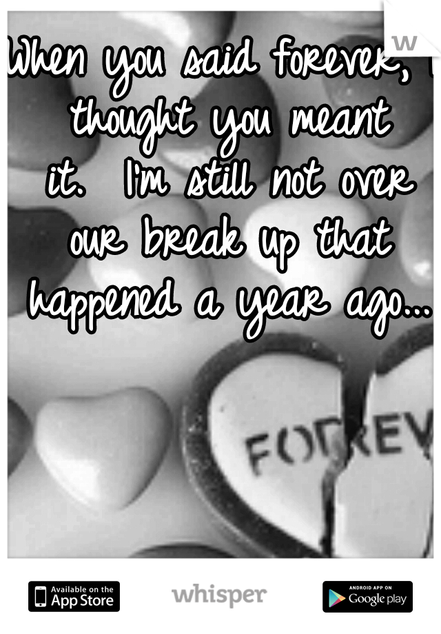 When you said forever, I thought you meant it.  I'm still not over our break up that happened a year ago...