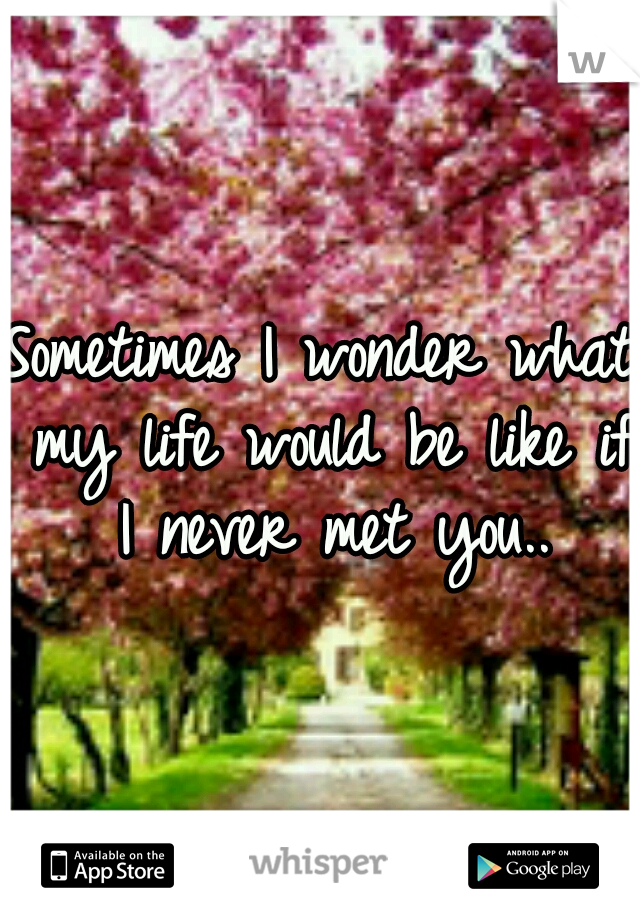 Sometimes I wonder what my life would be like if I never met you..