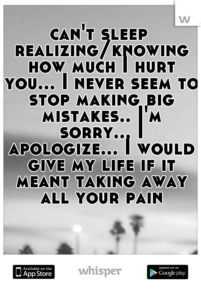 can't sleep realizing/knowing how much I hurt you... I never seem to stop making big mistakes.. I'm sorry... I apologize... I would give my life if it meant taking away all your pain