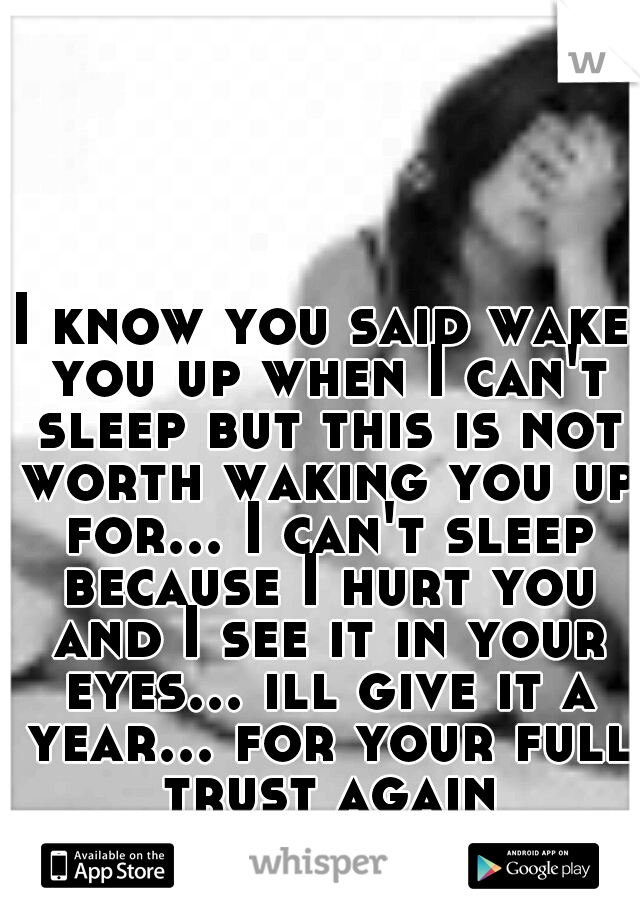 I know you said wake you up when I can't sleep but this is not worth waking you up for... I can't sleep because I hurt you and I see it in your eyes... ill give it a year... for your full trust again