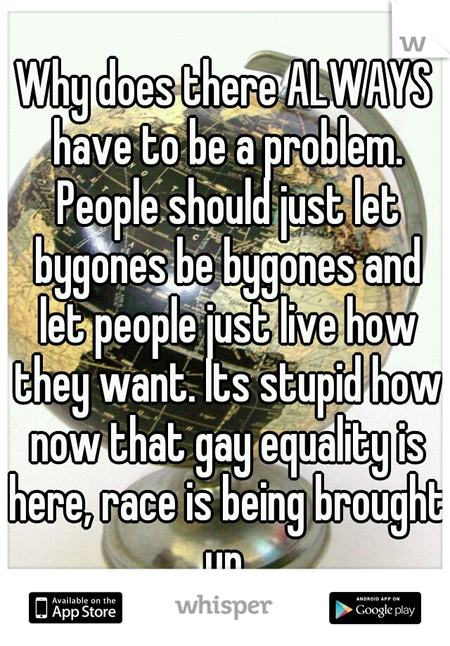 Why does there ALWAYS have to be a problem. People should just let bygones be bygones and let people just live how they want. Its stupid how now that gay equality is here, race is being brought up.