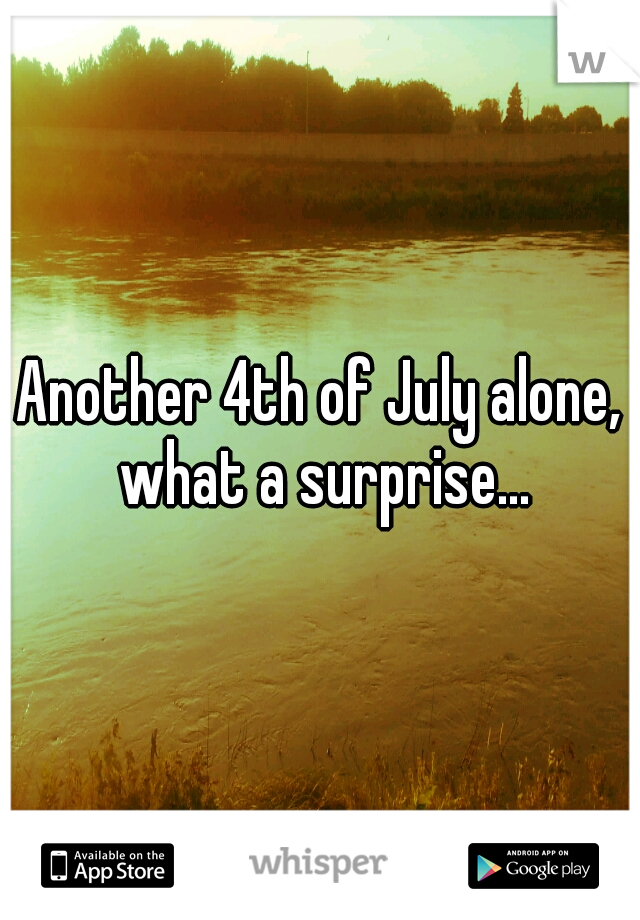 Another 4th of July alone, what a surprise...