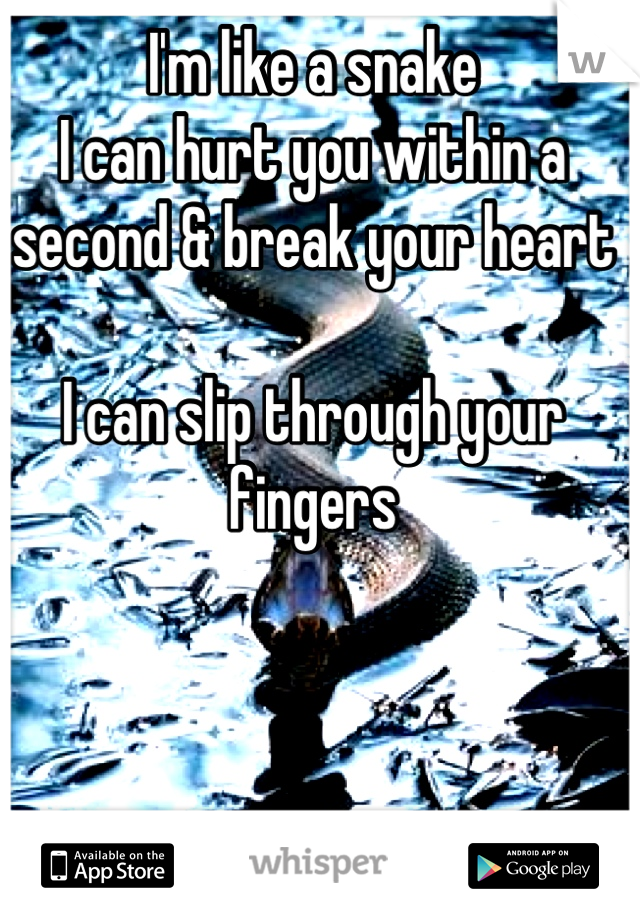 I'm like a snake  I can hurt you within a second & break your heart  I can slip through your fingers