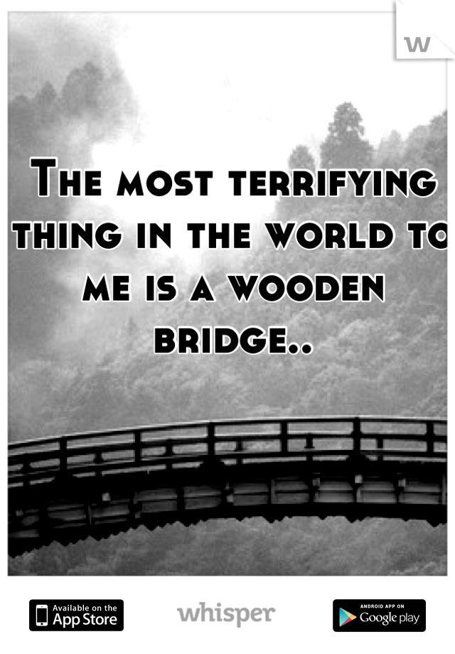 The most terrifying thing in the world to me is a wooden bridge..