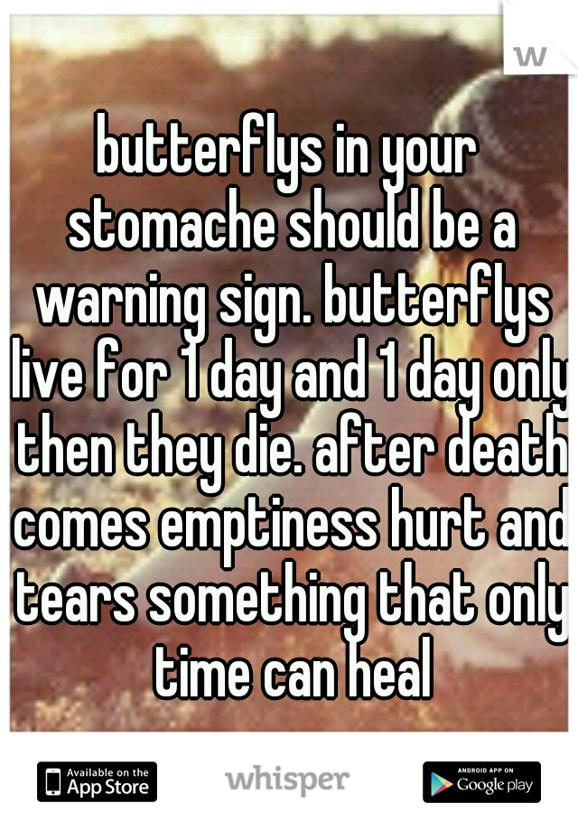 butterflys in your stomache should be a warning sign. butterflys live for 1 day and 1 day only then they die. after death comes emptiness hurt and tears something that only time can heal