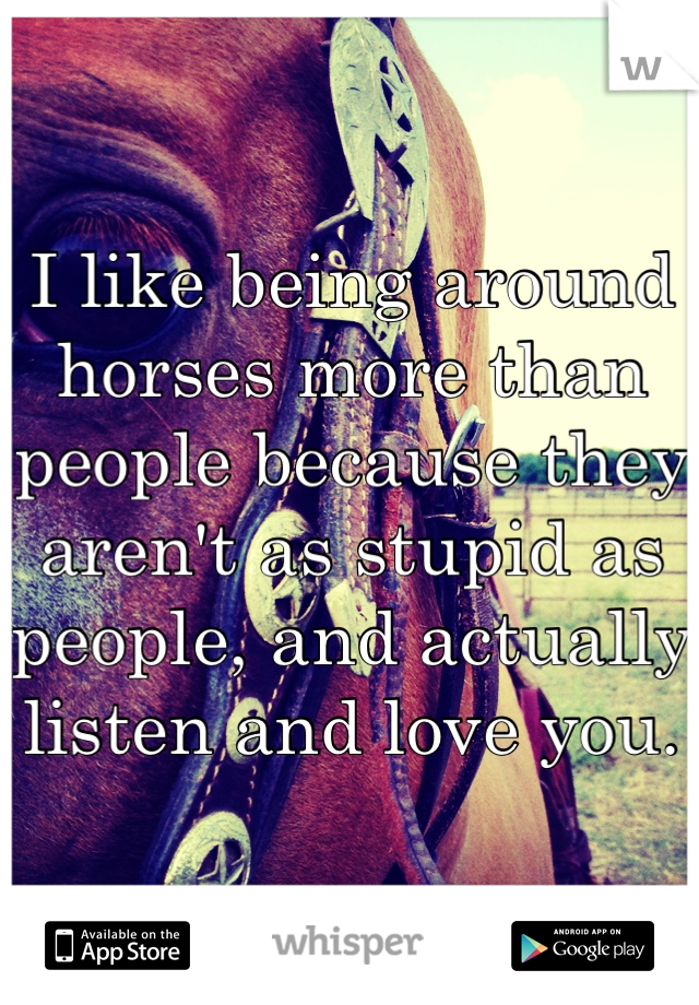 I like being around horses more than people because they aren't as stupid as people, and actually listen and love you.