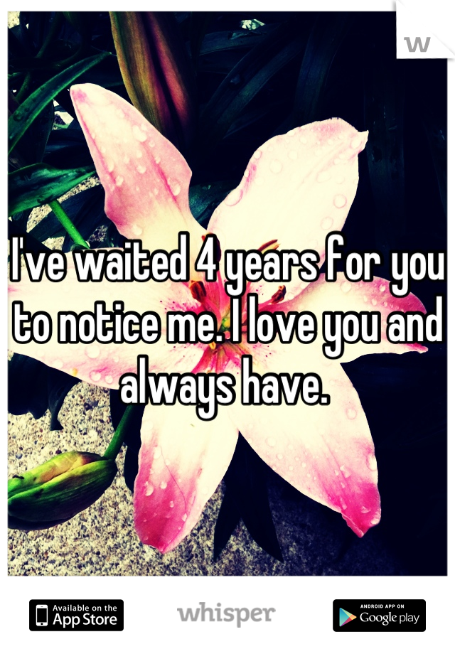 I've waited 4 years for you to notice me. I love you and always have.