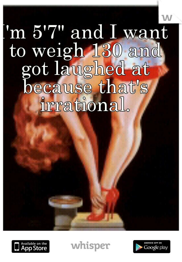 """I'm 5'7"""" and I want to weigh 130 and got laughed at because that's irrational."""
