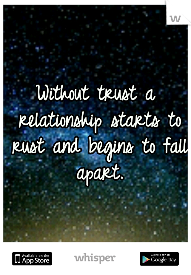 Without trust a relationship starts to rust and begins to fall apart.