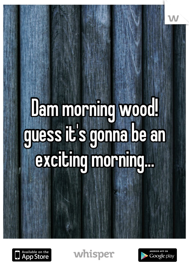 Dam morning wood! guess it's gonna be an exciting morning...