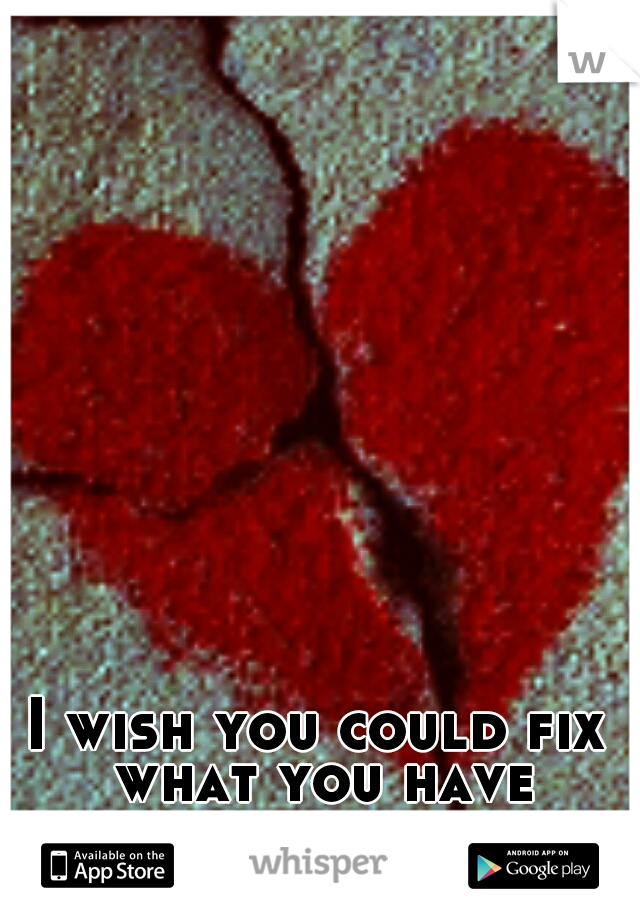 I wish you could fix what you have broken.