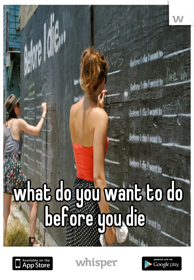 what do you want to do before you die