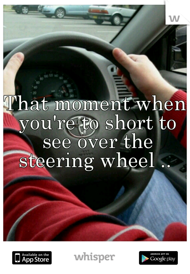 That moment when you're to short to see over the steering wheel ..