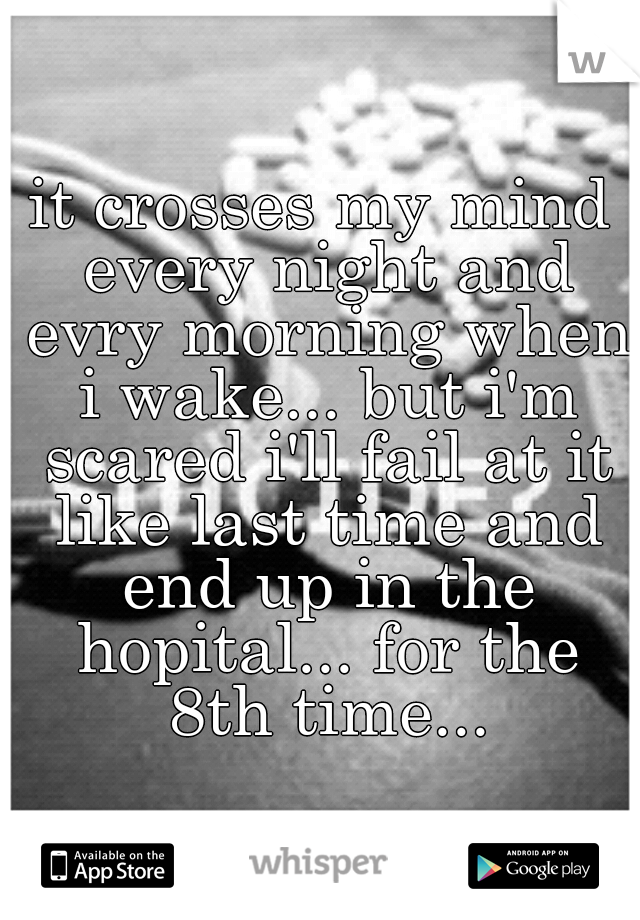 it crosses my mind every night and evry morning when i wake... but i'm scared i'll fail at it like last time and end up in the hopital... for the 8th time...