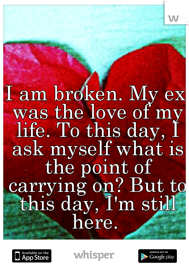 I am broken. My ex was the love of my life. To this day, I ask myself what is the point of carrying on? But to this day, I'm still here.