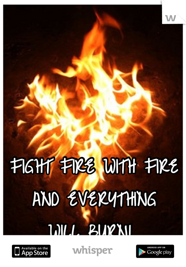 FIGHT FIRE WITH FIRE AND EVERYTHING  WILL BURN!