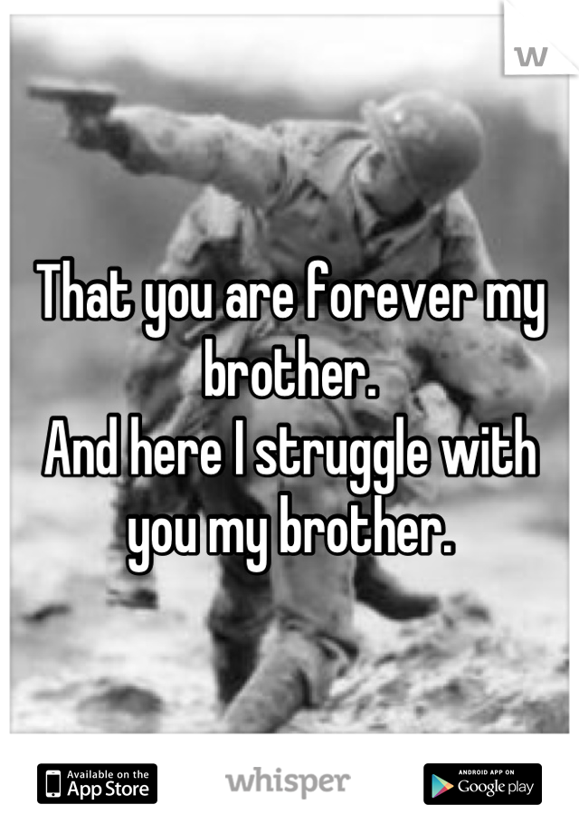 That you are forever my brother.  And here I struggle with you my brother.