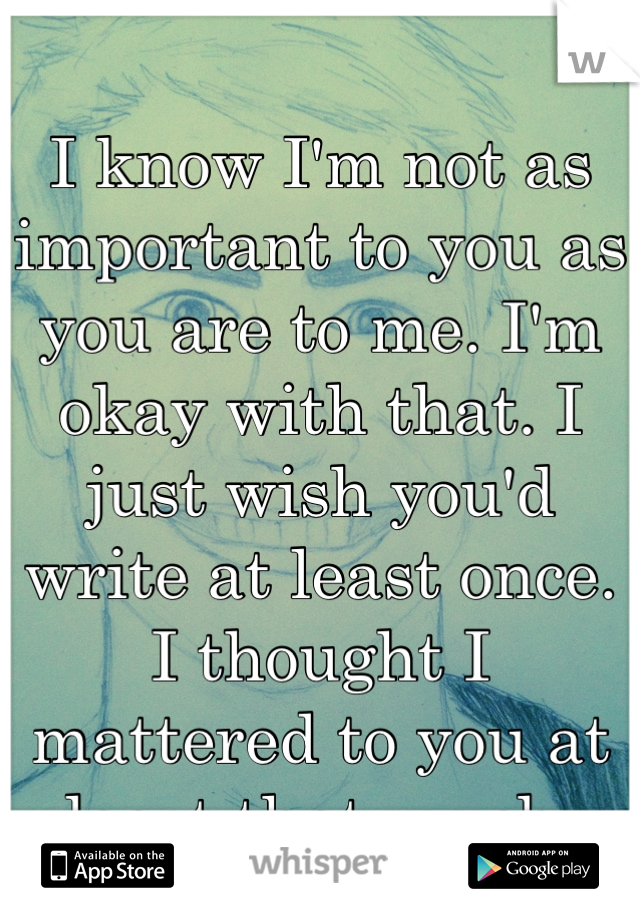 I know I'm not as important to you as you are to me. I'm okay with that. I just wish you'd write at least once.  I thought I mattered to you at least that much.