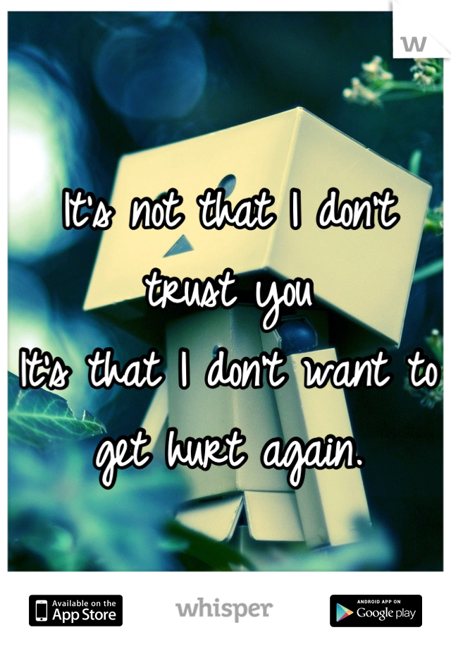It's not that I don't trust you It's that I don't want to  get hurt again.