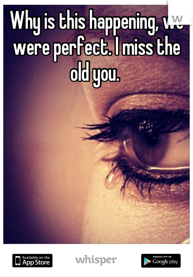 Why is this happening, we were perfect. I miss the old you.