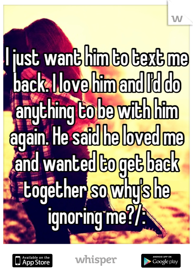 I just want him to text me back. I love him and I'd do anything to be with him again. He said he loved me and wanted to get back together so why's he ignoring me?/: